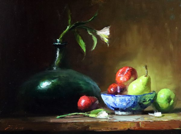 A photo of an original oil painting on panel of a still life of a Delft bowl of fruit by Kelli Folsom