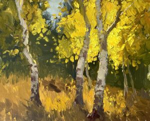 A photo of an original oil painting on panel of landscape of Colorado Aspen trees by Kelli Folsom.