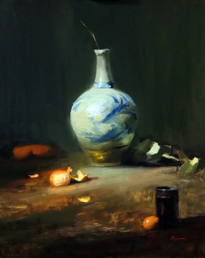 A photo of an original oil painting on panel of a still life painting of a Japanese bottle and mandarins by Kelli Folsom.