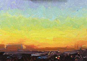A photo of an original oil painting of a sunrise sunset landscape by Kelli Folsom