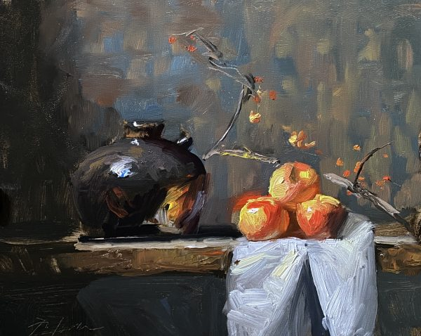 A photo of an original oil painting on panel of a still life painting of apples and a jug by Kelli Folsom.