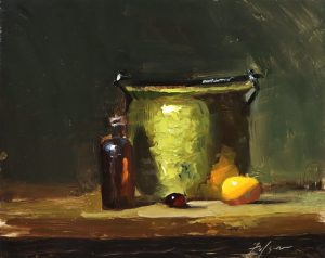 A photo of an original oil sketch on panel of a still life painting of brass and glass by Kelli Folsom