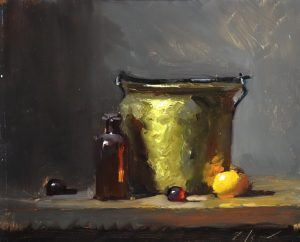 A photo of an original oil sketch on panel of a still life painting of brass and glass II by Kelli Folsom.