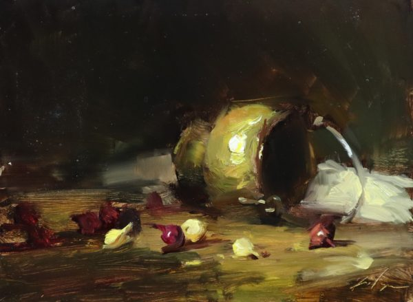 A photo of an original oil sketch on panel of brass and onions by Kelli Folsom.
