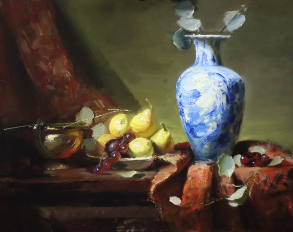 A photo of an original oil painting on panel of a still life painting of a Delft Blue Vase and a plate of pears by Kelli Folsom.