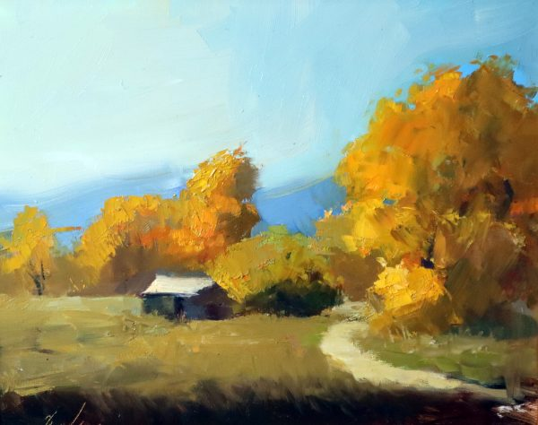 A photo of an original oil painting of a plein air painting of a fall landscape.