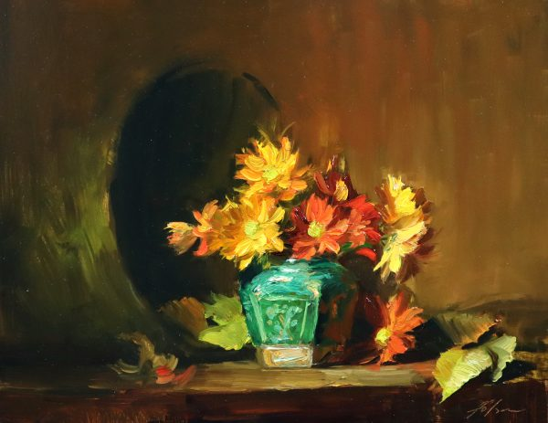 A photo of an original oil painting on panel of a floral still life of fall mums in a green ginger jar.