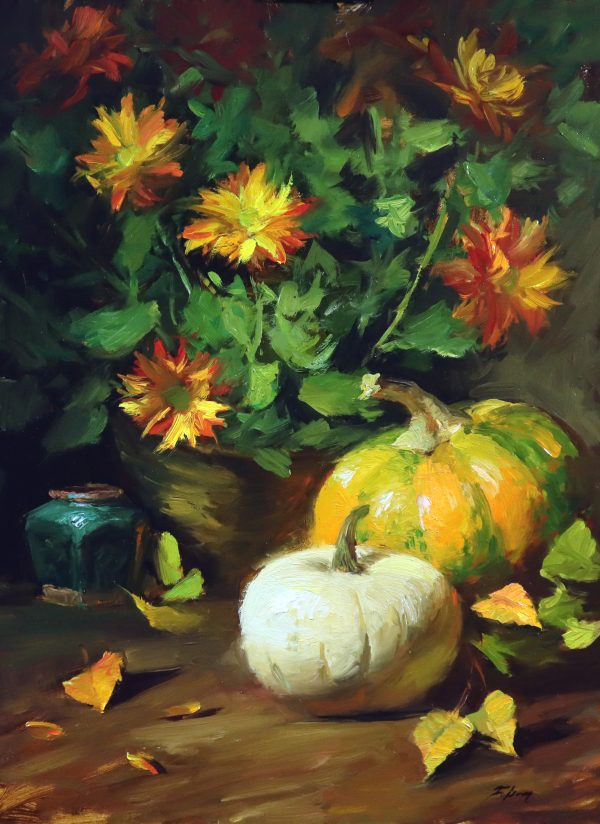 A photo of an original oil painting on linen of a still life painting of fall pumpkins and mums.