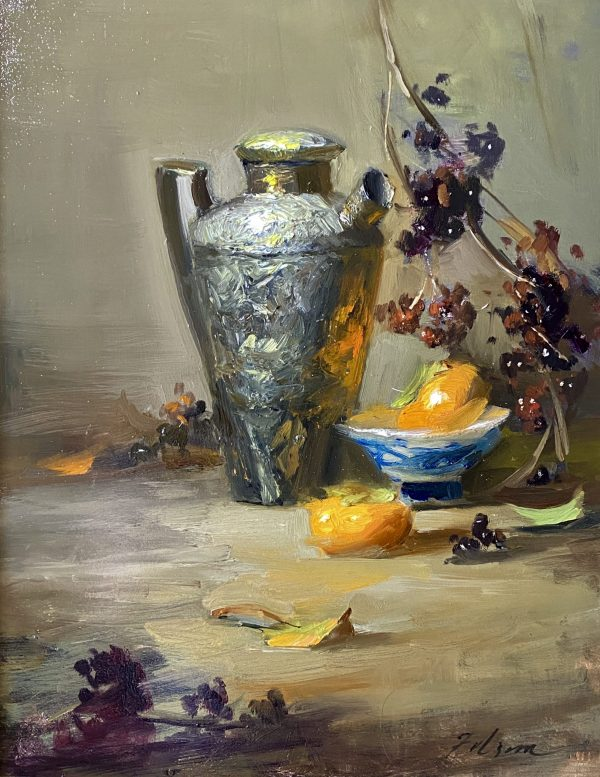 A photo of an original oil painting on panel of a still life painting of persimmons and fall berries by Kelli Folsom