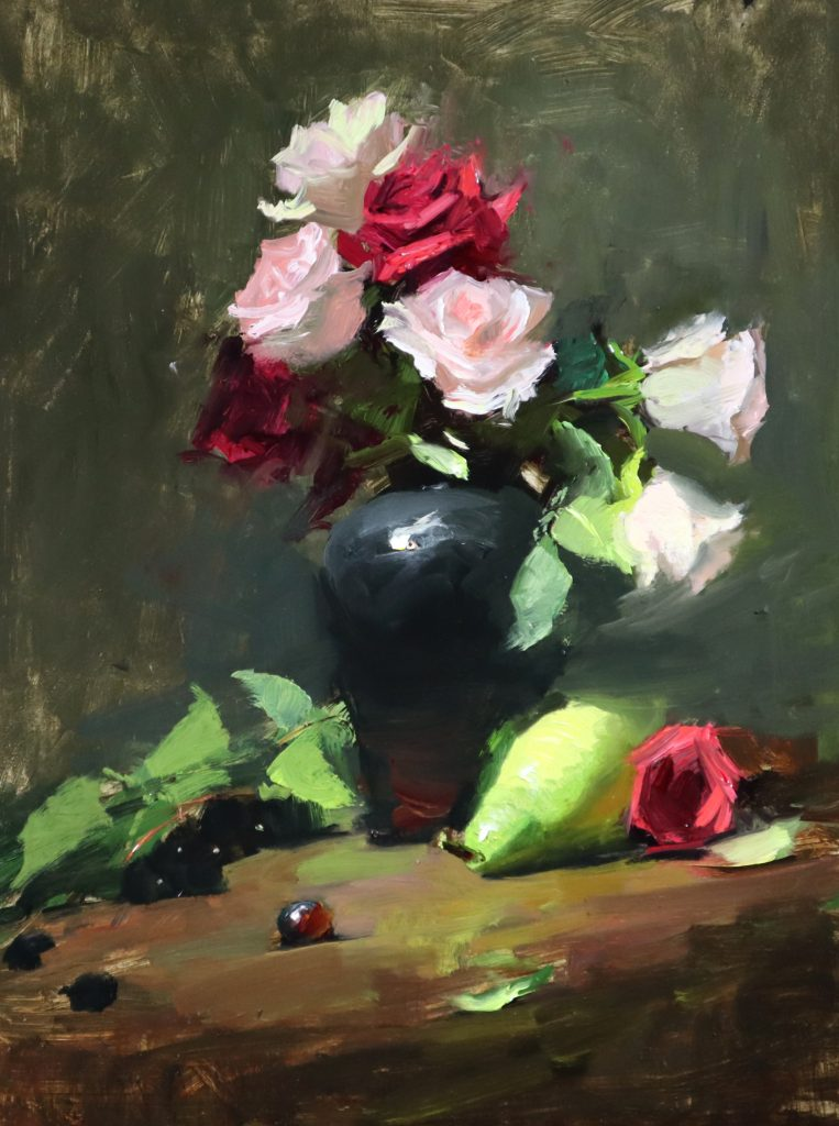A photo of an original oil painting on panel of a floral still life painting of pink roses and a green pear by Kelli Folsom.