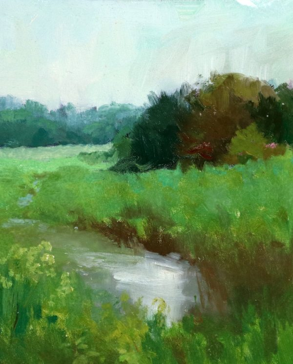 A photo of an original oil sketch on panel of a plein air painting of a rainy morning with lush greens by Kelli Folsom.