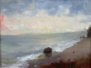 A photo of an original oil sketch on panel of a plein air painting of a sandy beach and sky by Kelli Folsom.