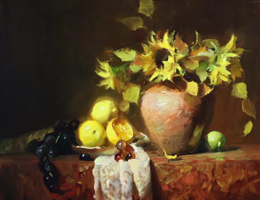 A photo of an original oil painting on panel of a floral still life painting of flowers, lemons, and fruit by Kelli Folsom.