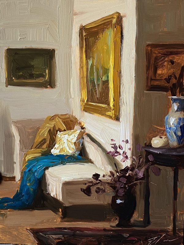A photo of an original oil painting on panel of an interior of the artist's home by Kelli Folsom.