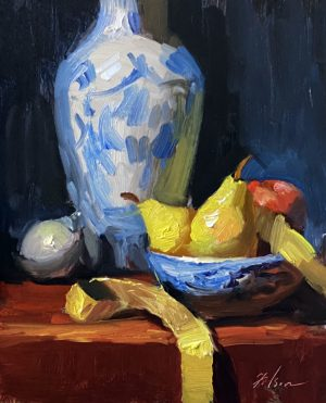 A photo of an original oil painting on panel of a still life of a blue and white vase and pears by Kelli Folsom.