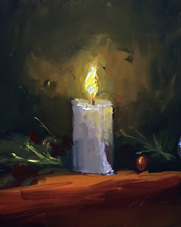 A photo of an original oil painting on panel of a still life painting of winter candlelight by Kelli Folsom