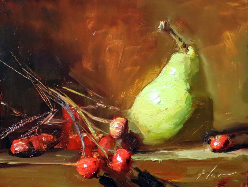 An oil painting of a green pear and red berries