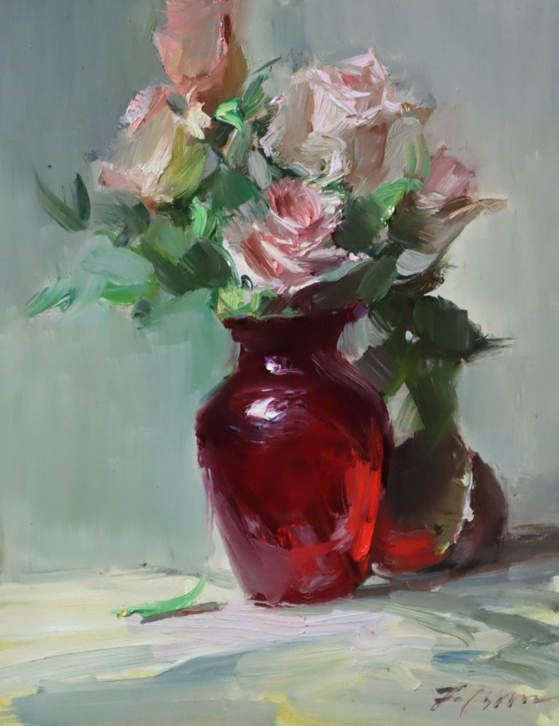 An oil painting of pink roses in a red glass vase