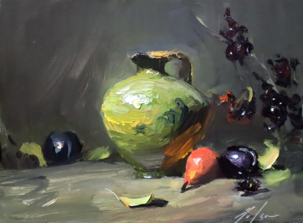 An oil painting of a green vase and fall fruits