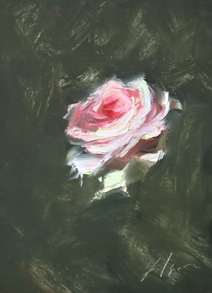 A photo of an original oil painting on panel of a still life painting of a single blush pink rose by Kelli Folsom.
