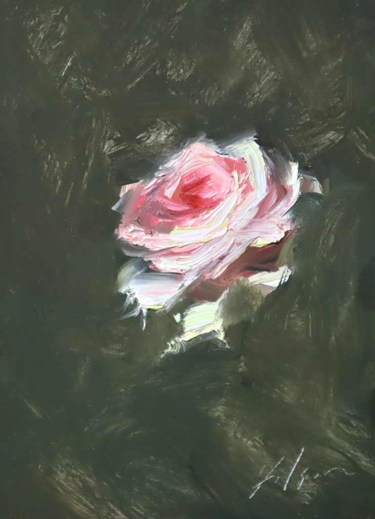 An oil painting of a single pink rose