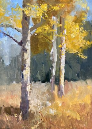 A photo of an original oil painting on panel of a plein air painting of aspen trees in the fall by Kelli Folsom.