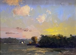 A photo of an original oil painting on panel of a plein air painting of a quiet lake by Kelli Folsom.