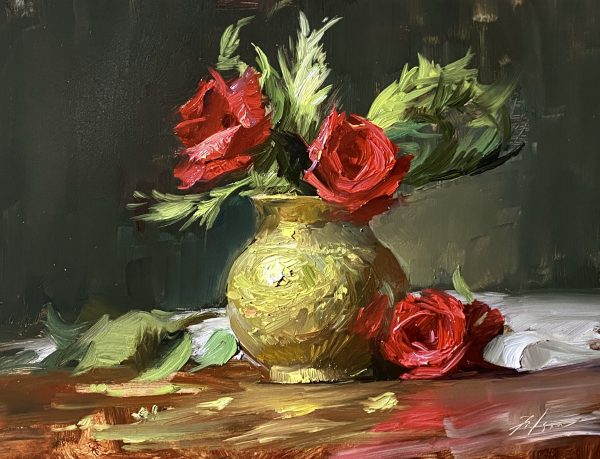 A photo of an original oil painting on panel of a floral still life of red Christmas roses by Kelli Folsom