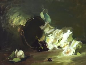 A photo of an original oil painting on panel of a floral still life painting of an ivory rose cascade by Kelli Folsom
