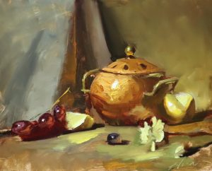 A photo of an original oil painting on panel of a still life of kitchen copper and lemon by Kelli Folsom.