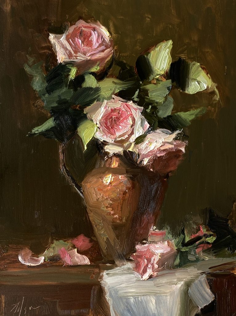 A photo of an original oil painting on panel of a floral still life of pink roses in a copper vase by Kelli Folsom.