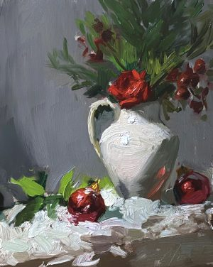 A photo of an original oil painting on panel of a red and white Christmas still life by Kelli Folsom.