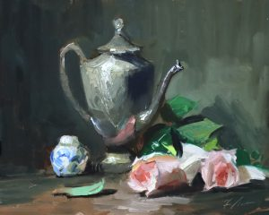 A photo of an original oil painting on panel of a still life painting of a teapot and pink roses by Kelli Folsom.