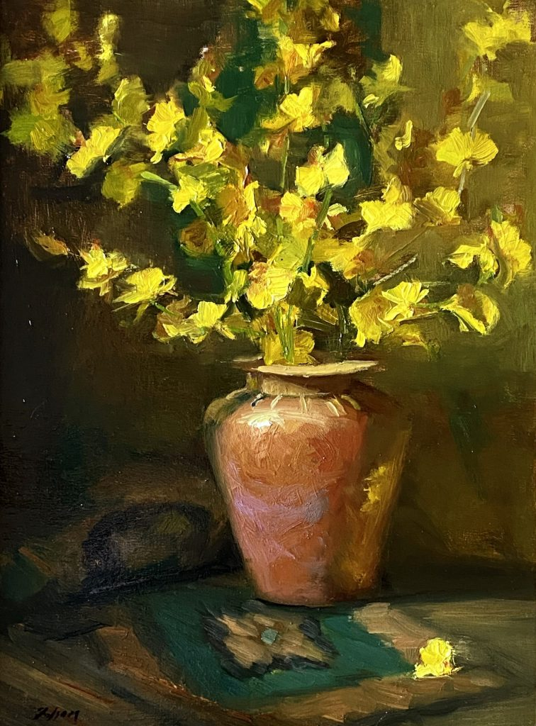 A photo of an original oil painting on linen of a floral still life painting of yellow orchids in a southwestern pot by Kelli Folsom.