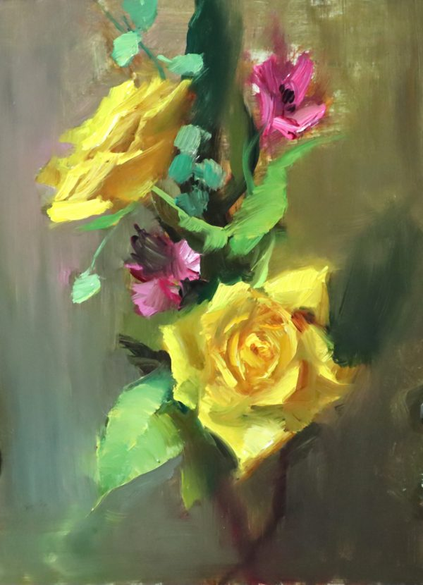 A photo of an original oil painting on panel of a floral still life of yellow roses by Kelli Folsom.
