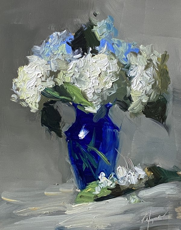 A photo of an original oil painting on panel of a floral still life of blue and white hydrangea by Kelli Folsom