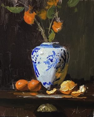 A photo of an original oil painting on panel of a still life painting of mandarins and a ginger jar by Kelli Folsom.