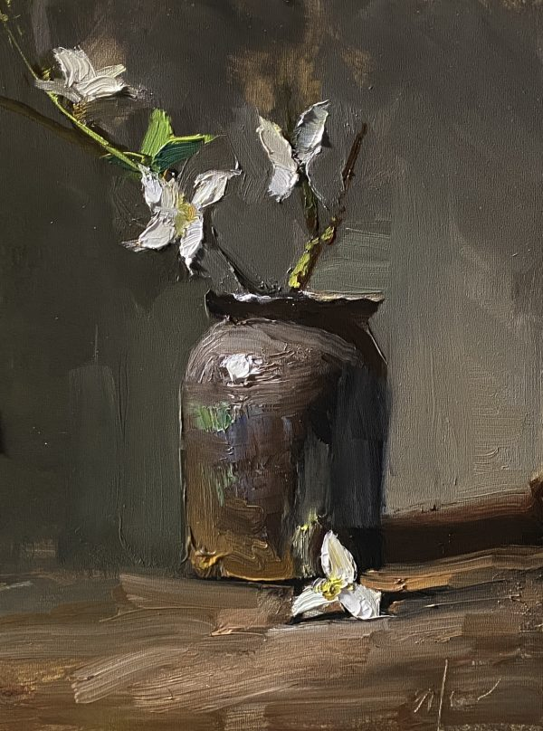 A photo of an original oil painting on panel of a floral still life of simple white blossoms by Kelli Folsom.