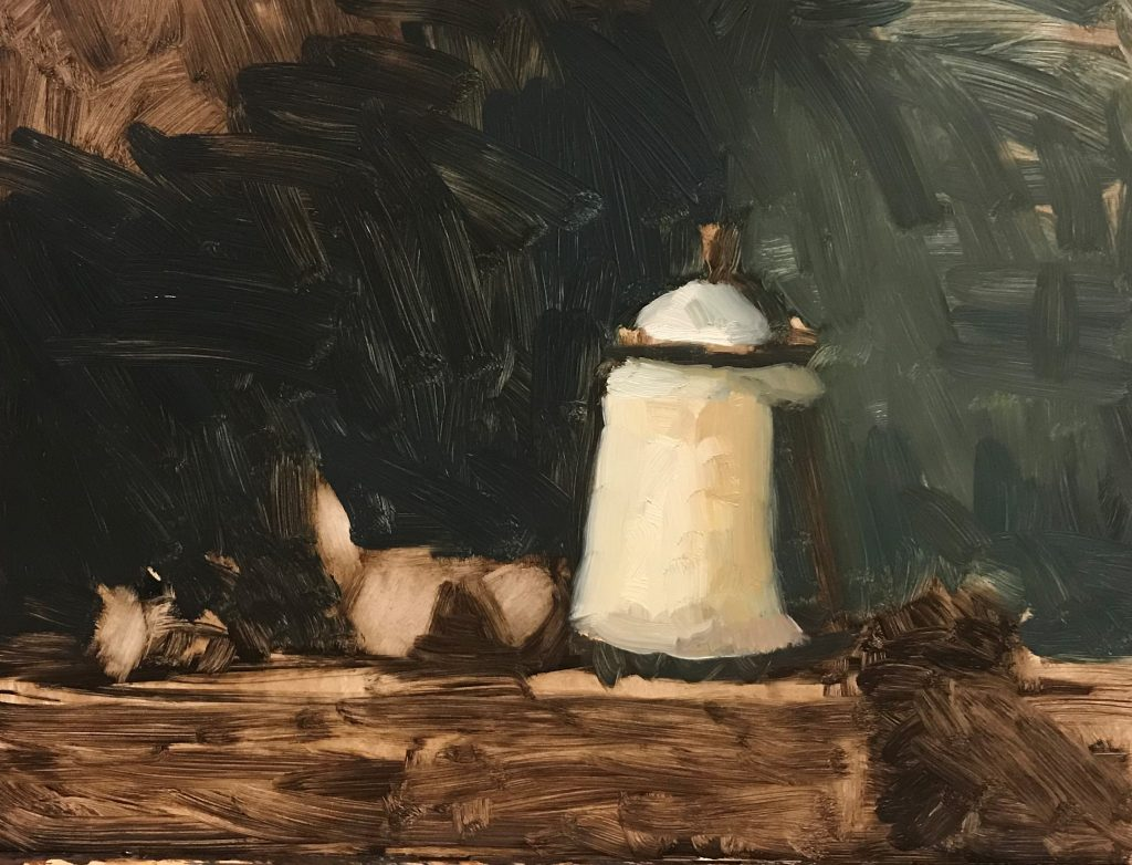 Painting Limoges Jar and Nectarines Background Image