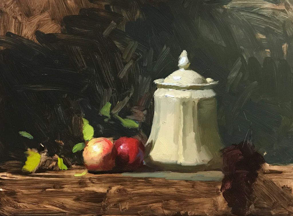 Painting Limoges Jar and Nectarines Modeling Nectarines and Leaf Color Image