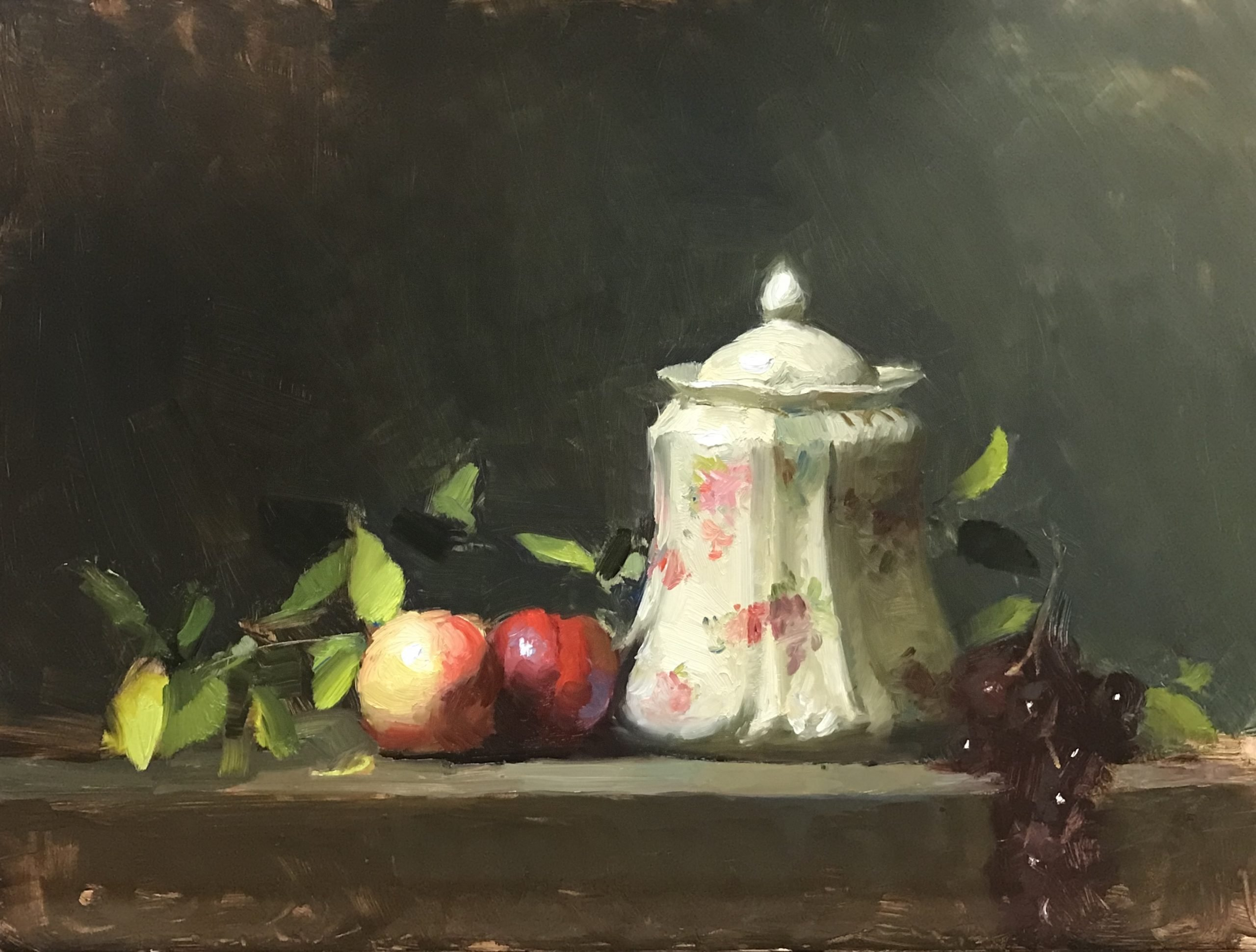 "Painting Limoges Jar and Nectarines 12"" x 16"" Oil on Panel"