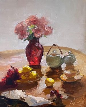 A photo of an original oil painting on panel of a still life of a Valentine's breakfast table by Kelli Folsom.