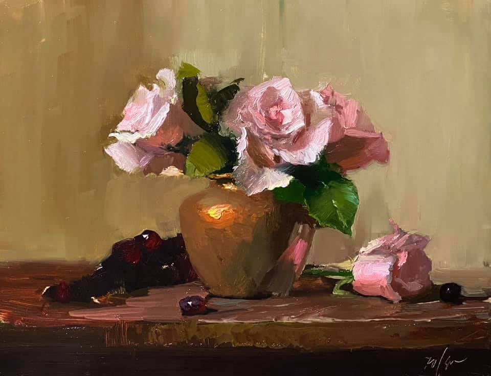A photo of an original oil painting on panel of a floral still life of pink roses by Kelli Folsom.