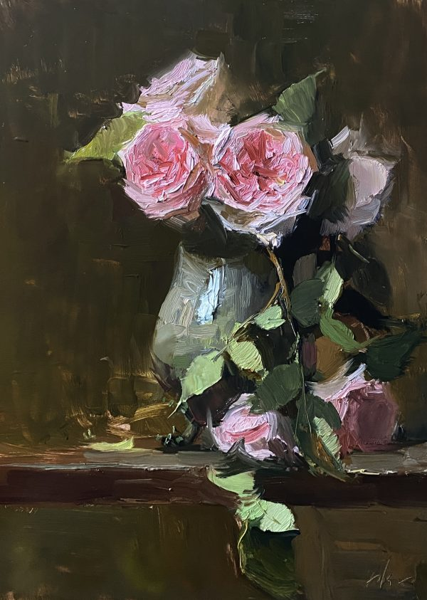 A photo of an original oil painting on panel of a still life painting of pink garden roses.