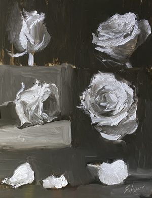 A photo of an original oil painting on panel of a floral still life of value, form, and perspective in roses by Kelli Folsom.