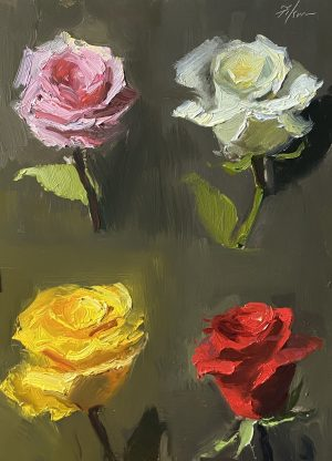 A photo of an original oil painting on panel of a floral still life of color mixes for roses by Kelli Folsom.