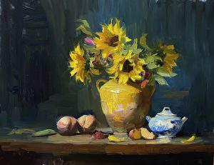 A photo of an original oil painting on panel of a floral still life of sunflowers by Kelli Folsom.