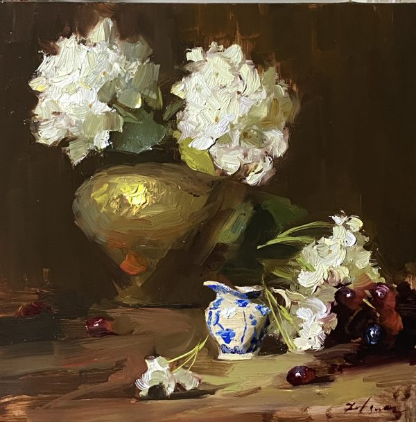A photo of an original oil painting on panel of a still life of white hydrangeas by Kelli Folsom