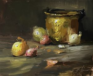 A photo of an original oil painting on panel of a still life of onions and a brass bucket by Kelli Folsom.
