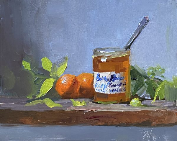 A photo of an original oil painting on panel of a still life of marmalade and mandarins by Kelli Folsom.